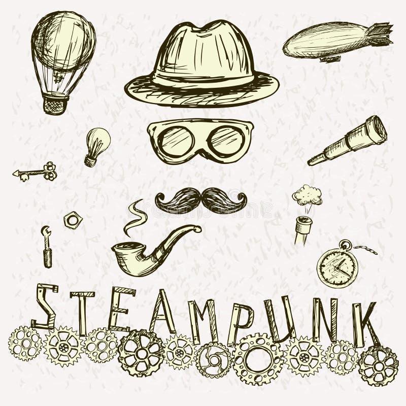Собрание Steampunk, нарисованная рука бесплатная иллюстрация