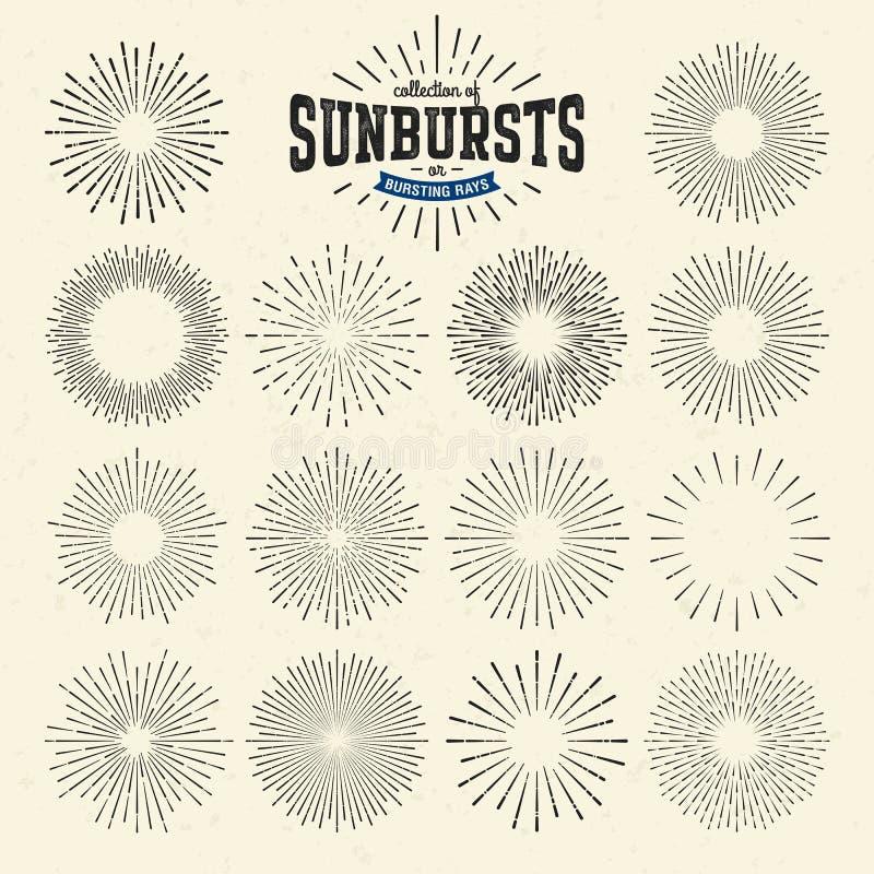 Собрание sunbursts или лучей разрывать иллюстрация вектора