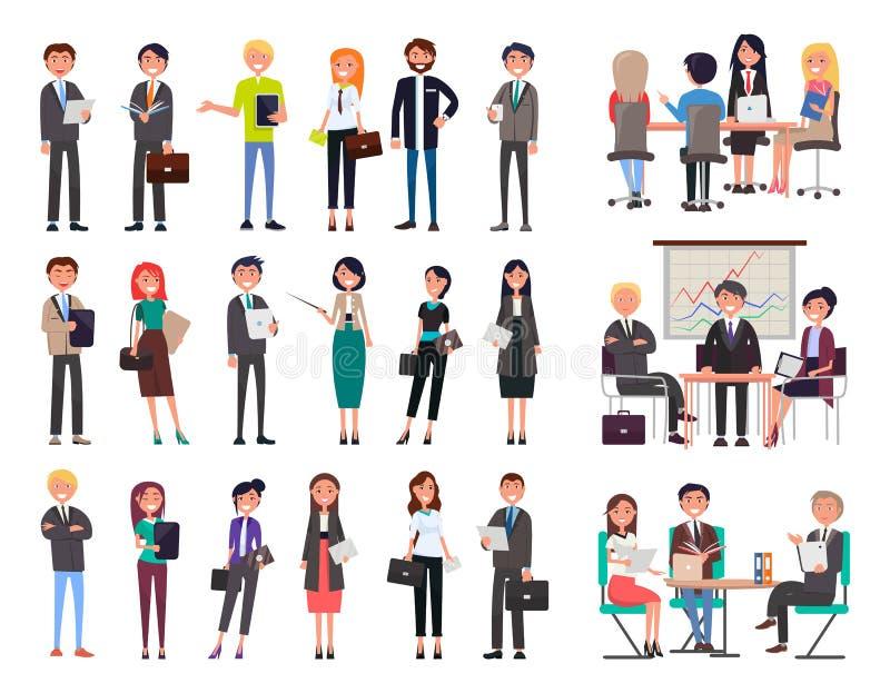 Собрания бизнесмены иллюстрации вектора иллюстрация вектора