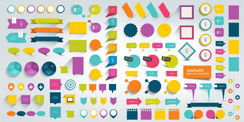 Собрания элементов дизайна infographics плоских стоковые фотографии rf