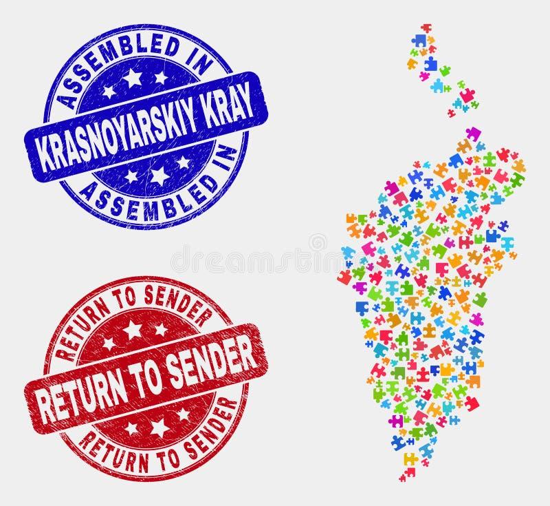 Собранные карта и Grunge Krasnoyarskiy Kray модуля и возвратить в уплотнения печати прислужника бесплатная иллюстрация