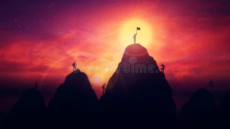 Собственная личность преодолевает концепцию как человек на верхней части поднимает флаг финиша после взбираться препоны горы сост стоковое фото