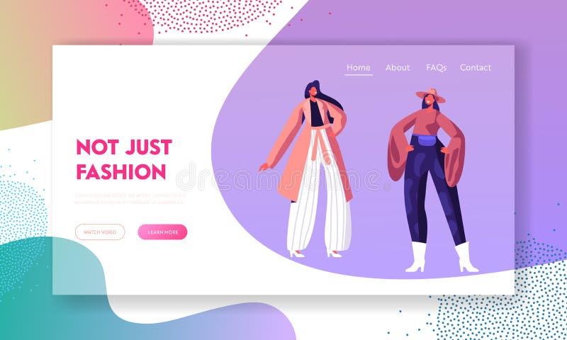 Событие подиума моды показывая новое собрание страницы вебсайта одежд приземляясь, женские модели идет взлетно-посадочная дорожка бесплатная иллюстрация