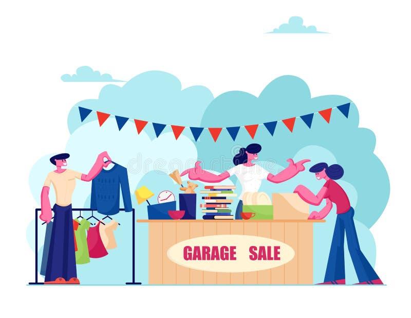 Событие продажи гаража Продавщица стоит у стойки с различными старыми вещами для продажи, люди смотрят товары Выберите, что купит иллюстрация вектора