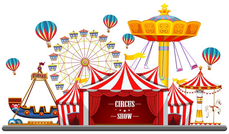 Событие с шатрами, колесо цирка ferris, едет игры, изолированный пиратский корабль билетной кассы иллюстрация штока