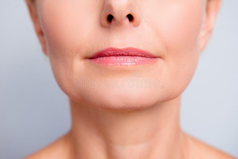 Совершенное естественное maqullage губы Закройте вверх по фото подрезанному макросом с стоковая фотография