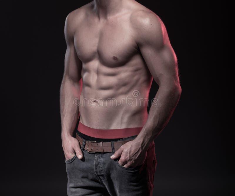 Совершенное мужское тело с sixpack стоковые изображения rf
