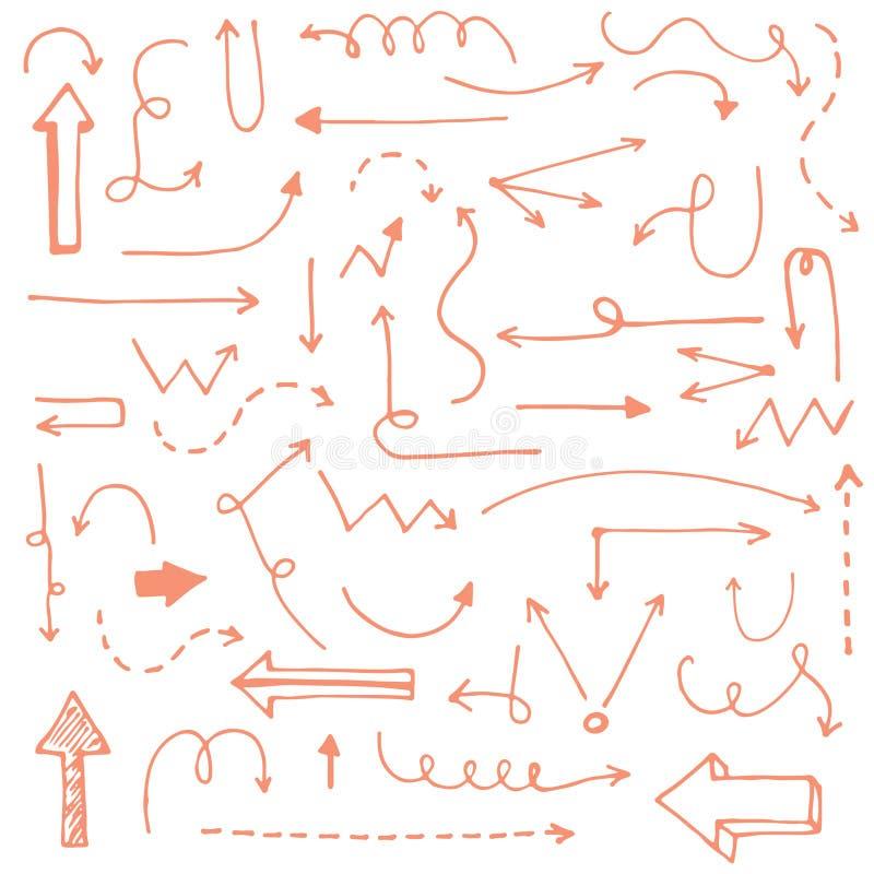 Совершенной винтажной стрелки нарисованные рукой сделанные в векторе стоковое изображение
