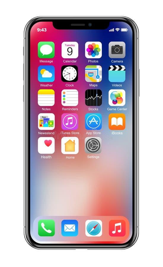 Совершенно новый реалистический smartphone черноты мобильного телефона в iPhone x Яблока иллюстрация штока