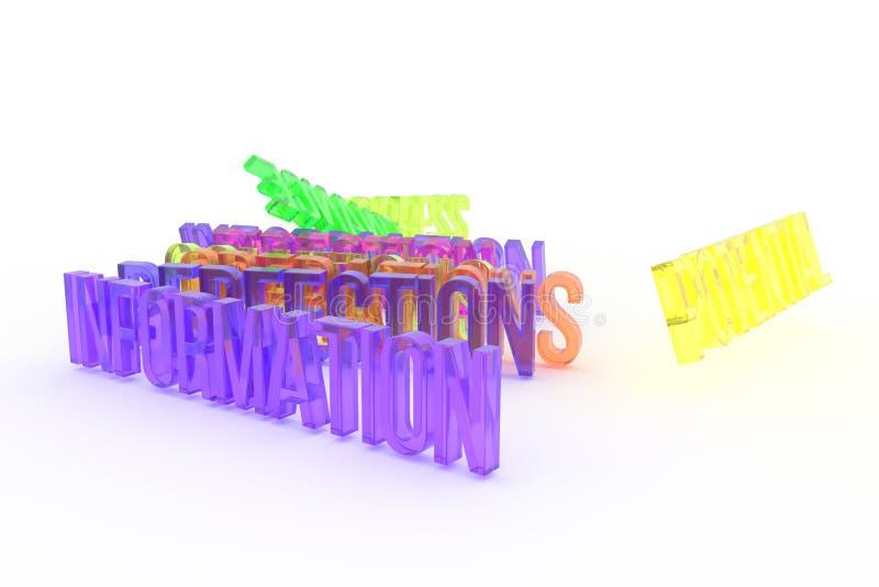 Совершенство, информация, дело схематическое красочное 3D представило слова Cgi, текст, сообщение & название иллюстрация вектора
