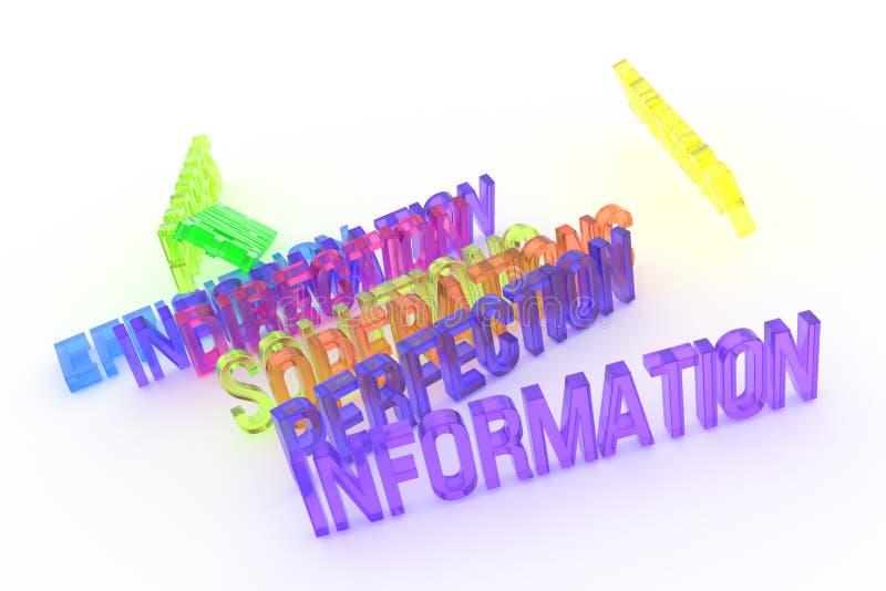 Совершенство, информация, дело схематическое красочное 3D представило слова Дизайн, титр, творческие способности & перевод иллюстрация штока