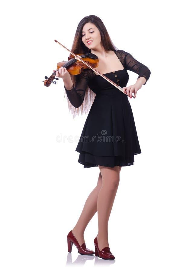 Совершитель женщины играя скрипку стоковая фотография rf