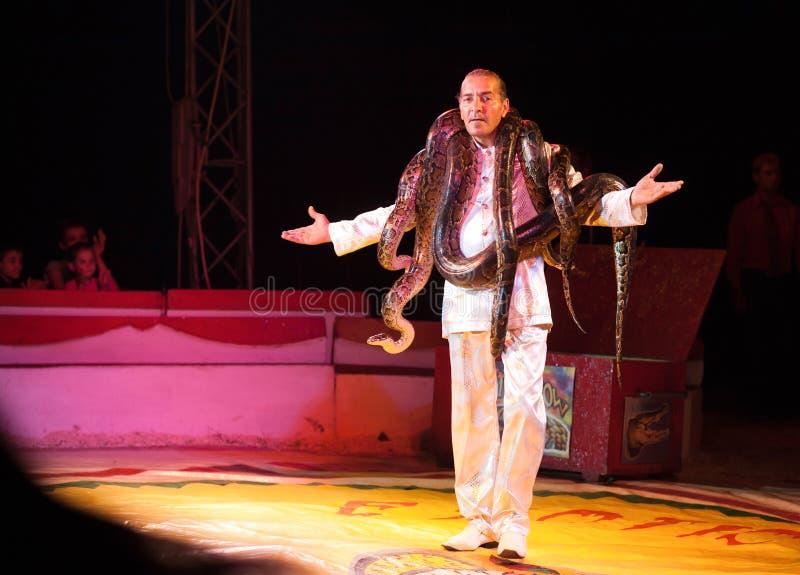 Совершитель цирка с змейками стоковые изображения rf