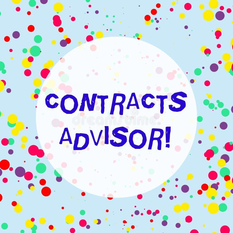 Советник контрактов текста почерка Значить концепции обеспечивает принуждение определенных политик закупок пестротканых иллюстрация вектора