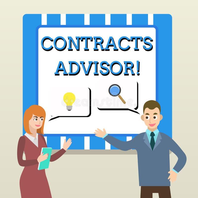 Советник контрактов текста почерка Значить концепции обеспечивает принуждение определенного дела политик закупок иллюстрация вектора