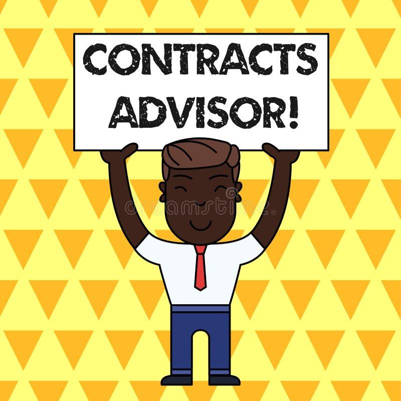 Советник контрактов текста почерка Значить концепции обеспечивает принуждение определенного человека политик закупок усмехаясь бесплатная иллюстрация