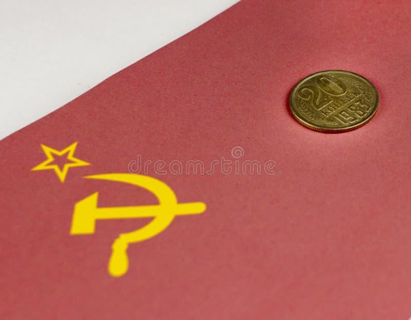 Советские деньги на фоне флага СССР патриотического стоковые фотографии rf