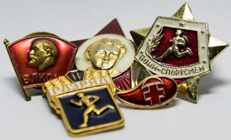 Советские значки для достижений спорт стоковая фотография