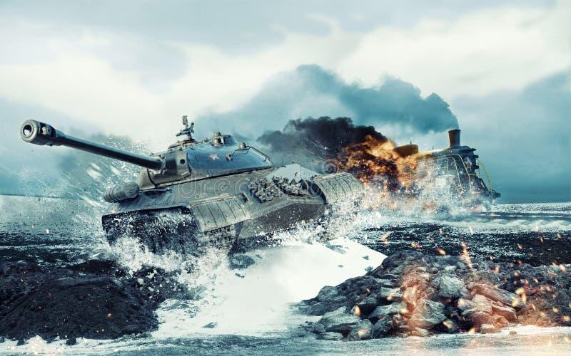 Советский боевой танк на предпосылке горящего атакованного локомотива стоковое изображение rf