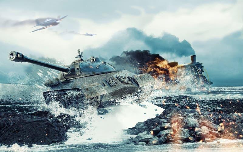 Советский боевой танк на предпосылке горящего атакованного локомотива стоковая фотография rf