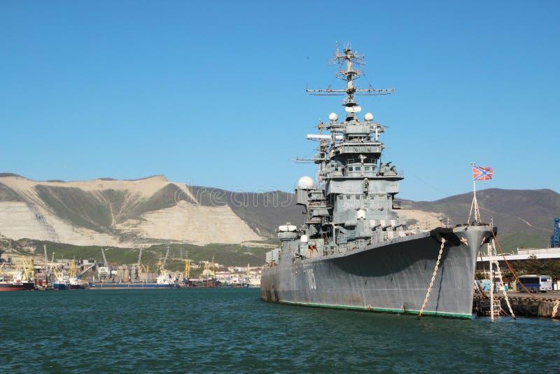 Советский крейсер Mikhail Kutuzov, Novorossiysk, Россия стоковая фотография rf