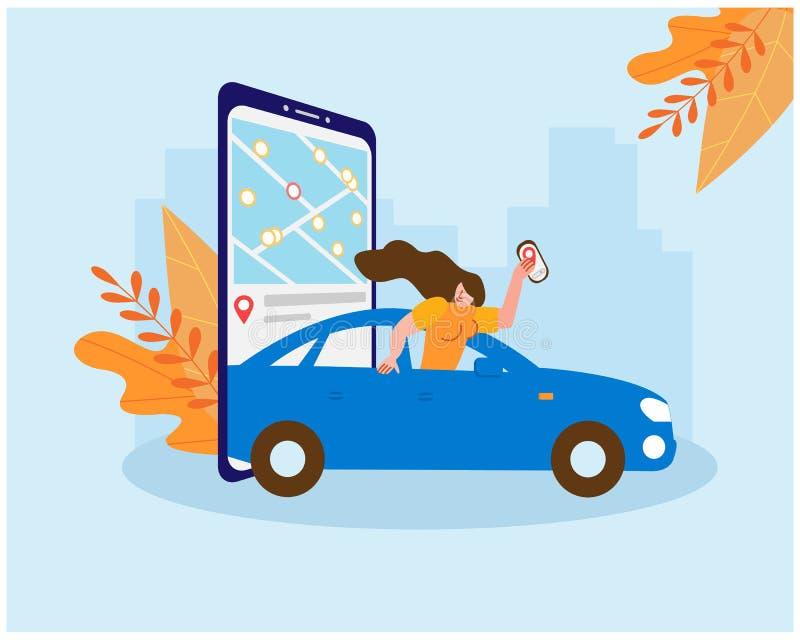 Совместное использование Женщина ездит в машине, спасаясь от холода осени На экране смартфона находится карта выбора иллюстрация штока