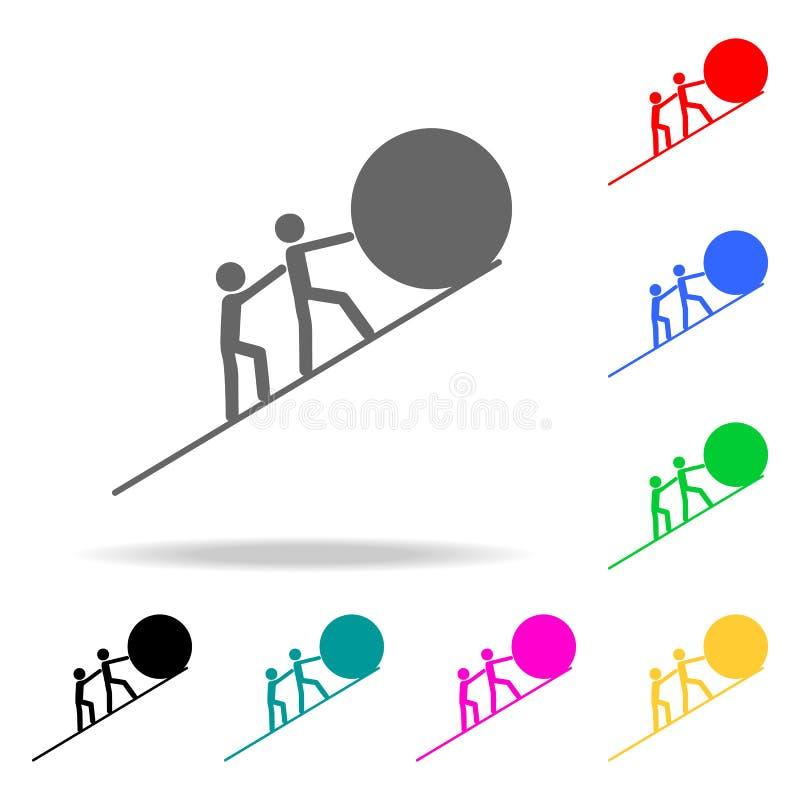совместное повышение шарика к верхнему значку Элементы значков сыгранности multi покрашенных Наградной качественный значок графич иллюстрация вектора