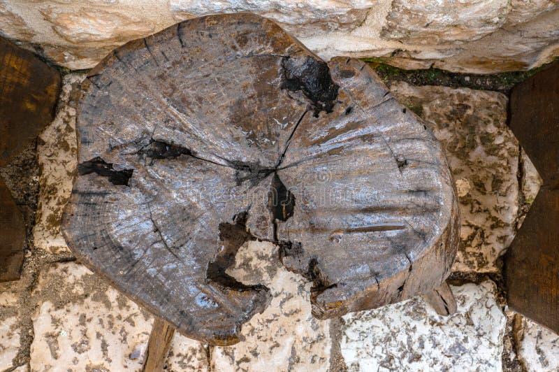 Совмещенная предпосылка текстуры отрезка старых деревянных пня и камня Старый год сбора винограда постарел коричневое grunge темн стоковое фото rf