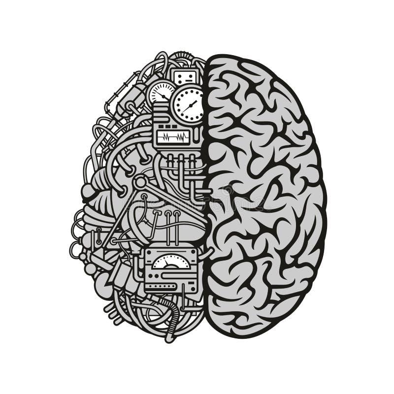 Совмещенный человеческий мозг с значком вычисляя двигателя иллюстрация штока