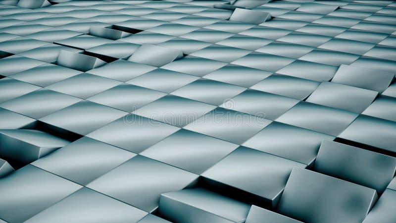 Современная абстрактная поверхность решетки металла поворачивает волну ярких голубых кубов бесплатная иллюстрация