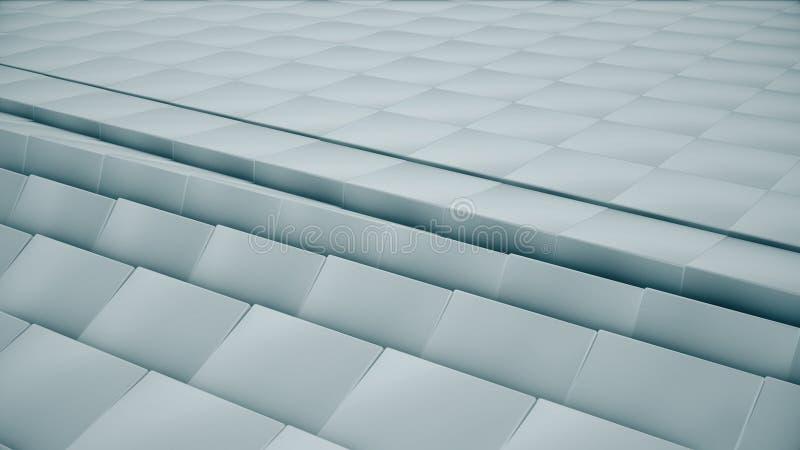 Современная абстрактная поверхность решетки металла поворачивает волну ярких голубых кубов стоковые фотографии rf