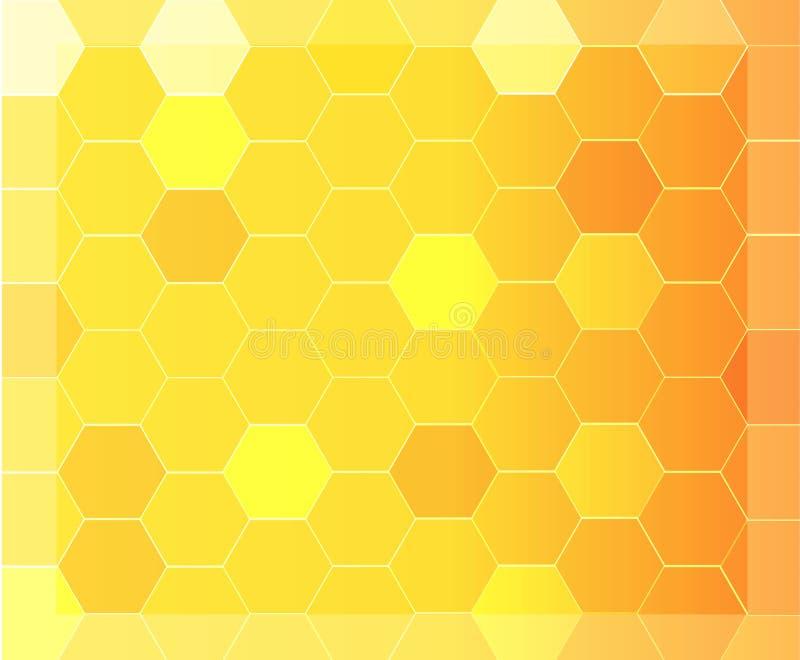 Современная абстрактная предпосылка с оранжевой и желтой картиной шестиугольника иллюстрация штока
