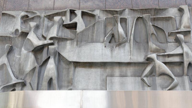 Современная абстрактная скульптура на здании Сиднея коммерчески, Австралии стоковое фото rf