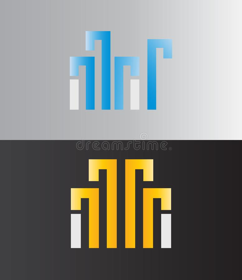 Современная архитектура стиля, здание, дизайн логотипа недвижимости Линия логотип, значок Логотип вектора иллюстрация штока