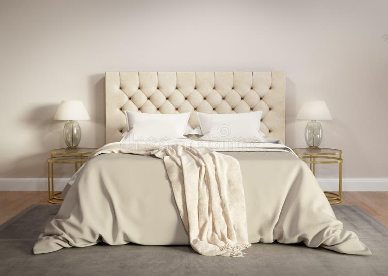 Современная бежевая спальня с серым половиком стоковое изображение rf