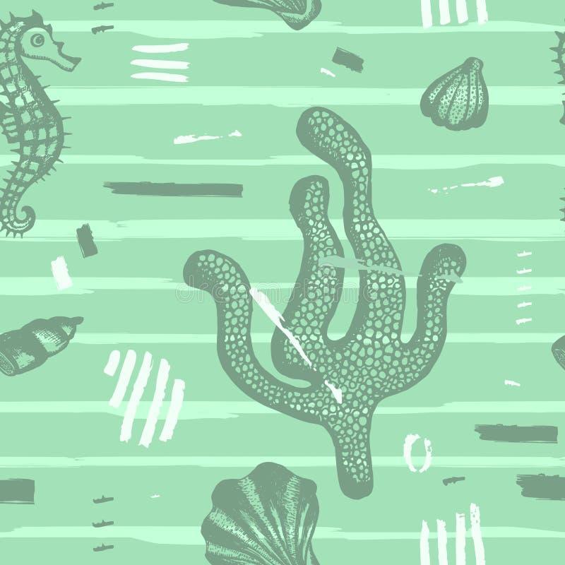 Современная безшовная картина моря Абстрактной предпосылка нарисованная рукой с ходами щетки Морская текстура с кораллом, seashel иллюстрация штока