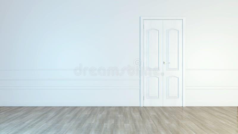 Современная белая дверь Серая стена с открытым космосом Минималистский яркий интерьер r иллюстрация штока