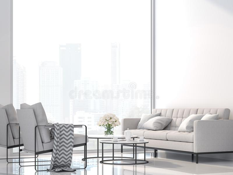 Современная белая живущая комната с renderr вида на город 3d, украшает с белой тканью и черной мебелью металла иллюстрация штока