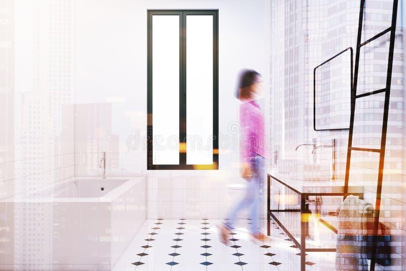 Современная белая нерезкость идеи украшения ванной комнаты бесплатная иллюстрация