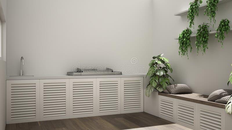 Современная белая терраса с высокорослыми стенами, барбекю, стенд с в горшке заводами, плющ, полки, деревянный пол, современный д иллюстрация вектора