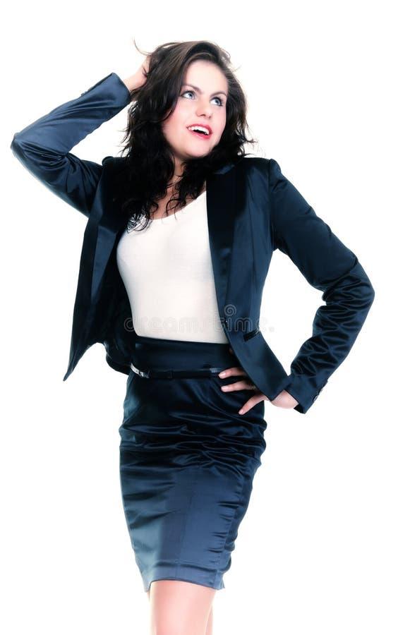 Download Современная бизнес-леди усмехаясь и смотря, полнометражный портрет Стоковое Изображение - изображение насчитывающей ся, девушка: 33734473