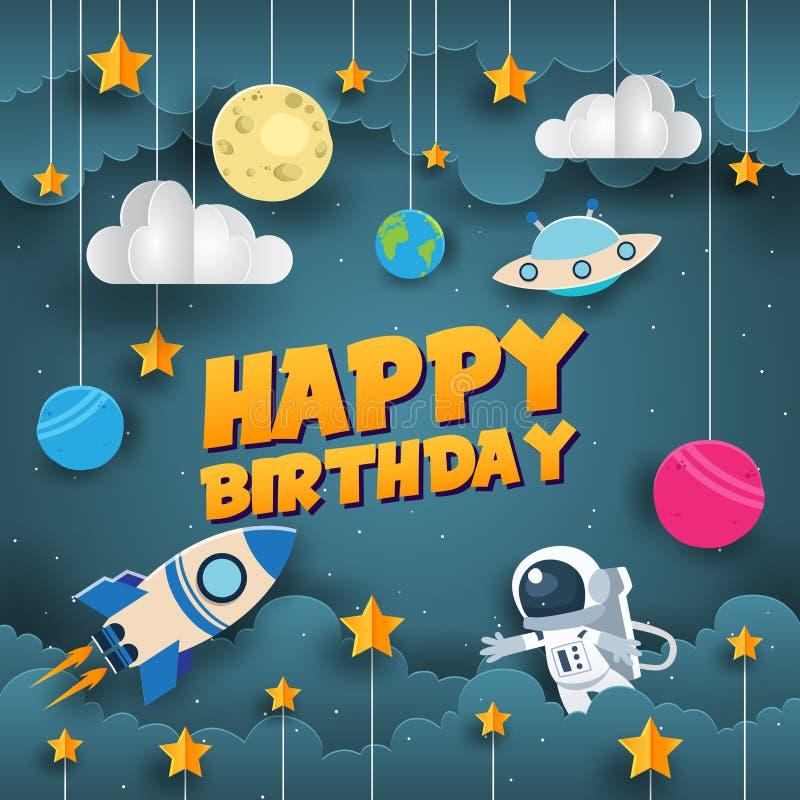 Современная бумажная иллюстрация поздравительой открытки ко дню рождения с днем рождений ученого космоса стиля искусства иллюстрация вектора