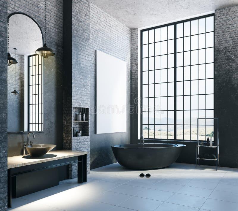 Современная ванная комната просторной квартиры с пустым знаменем бесплатная иллюстрация