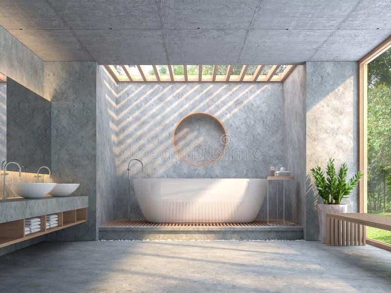 Современная ванная комната стиля просторной квартиры с отполированным конкретным 3d представляет иллюстрация вектора
