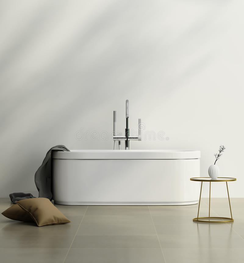 Современная ванная комната с белой минимальной ванной стоковые фотографии rf