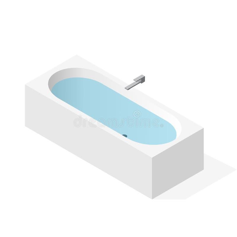 Современная ванна заполненная с водой Ванна вектора, равновеликая перспектива бесплатная иллюстрация