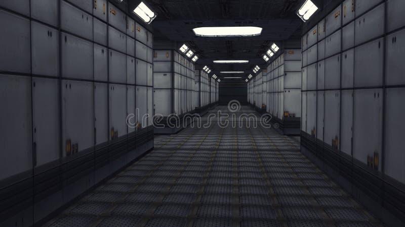 Современная внутренняя архитектура scifi иллюстрация штока