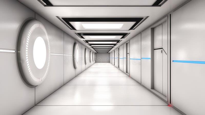 Современная внутренняя архитектура scifi иллюстрация вектора