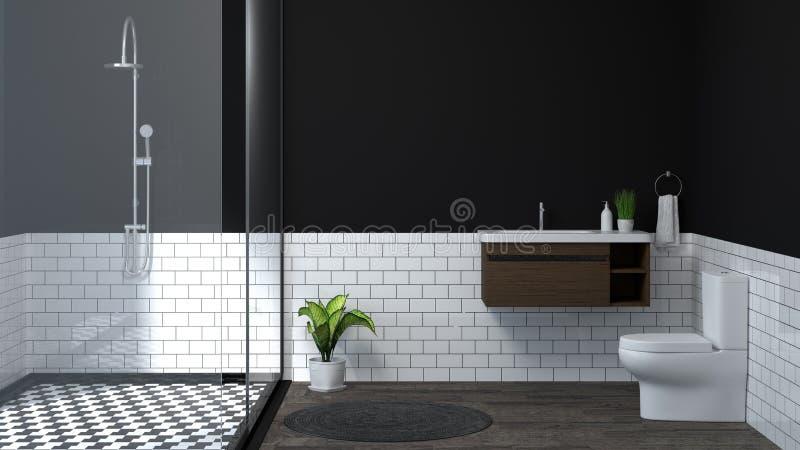 Современная внутренняя ванная комната, туалет, ливень, иллюстрация дизайна 3D дома для ванной комнаты плитки предпосылки космоса  иллюстрация штока