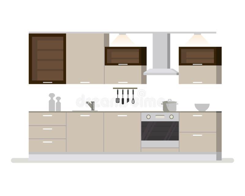 Современная внутренняя комната кухни в светлых тонах Утвари и приборы кухни Чашки и ножи блюда сотейника плоско иллюстрация вектора